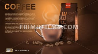 Realistic hot coffee cup and package Mockup template for branding, advertise product designs. Fresh steaming drink in a mug with roasted beans - frimufilms.com