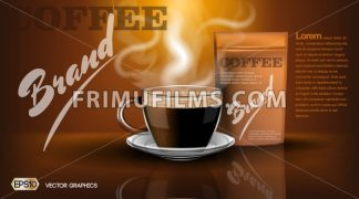 Realistic hot coffee cup and package Mockup template for branding, advertise product designs. Fresh steaming drink in a mug with shadows reflections - frimufilms.com