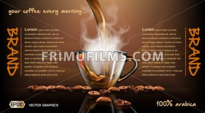 Realistic splash flowing coffee Mockup template for branding, advertise and product designs. Fresh steaming hot drink in a glass transparent cup  Roasted beans - frimufilms.com