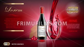 Vector Realistic Wine Glass and Bottle Mock up. Red vine grapes. Natural vibrant background with place for your branding. 3d illustration  future design or Advertise of  product - frimufilms.com