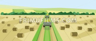 Vector abstract landscape with harvesting vehicles - frimufilms.com