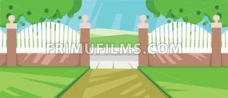 Vector abstract yard with green garden - frimufilms.com