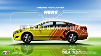 Digital vector yellow and red sedan sport car - frimufilms.com