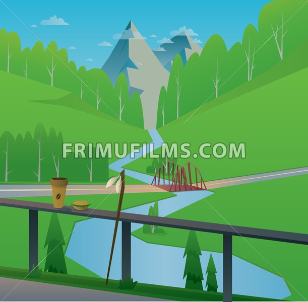 Digital vector abstract background with a bridge and river, coffee and food, rod, mountains and green heels with forest, blue sky and clouds, flat triangle style - frimufilms.com