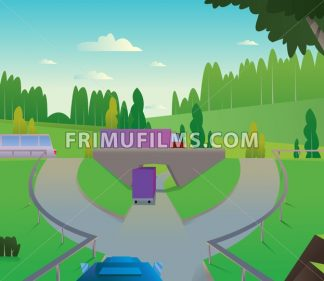 Digital vector abstract background with a car road to city with bridge and roundabout, green hills, big tree, blue sky and clouds, trucks and buses, flat triangle style - frimufilms.com
