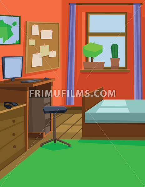 Digital vector abstract background with a small house interior with a bed by the window, computer table and chair, flowers and audio headset, flat style - frimufilms.com