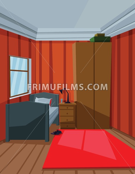Digital vector abstract background with a small house interior with a bed by the window, lamp, carpet and furniture, flat style - frimufilms.com