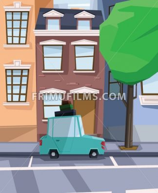 Digital vector abstract background with a street and road between houses, urban, cartoony green car with luggage on top, big green tree, flat triangle style - frimufilms.com