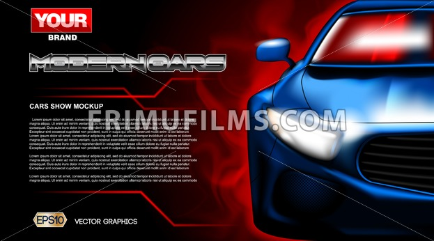 Digital vector blue new modern sport car close up mockup, ready for print or magazine design. Your brand, auto show and exhibition, lights on. Black background, red fog. Transparent, realistic 3d - frimufilms.com
