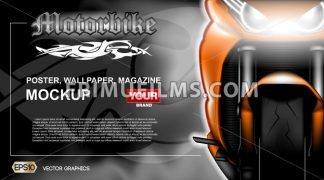 Digital vector orange new modern sport motorcycle close up mockup, ready for print or magazine design. Your brand, motor show and exhibition, lights on. Dark background, white fog. Realistic 3d - frimufilms.com