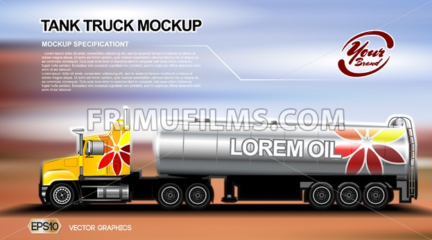 Digital vector orange new modern tank truck close up mockup, ready for print or magazine design. Your brand, oil transport. Brown and blue background. Realistic 3d - frimufilms.com