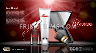 Digital vector red and silver skin care cream, eyedropper, foundation, mirror cosmetic container set mockup, your brand, print ads or magazine design. Transparent and shine template, realistic 3d - frimufilms.com
