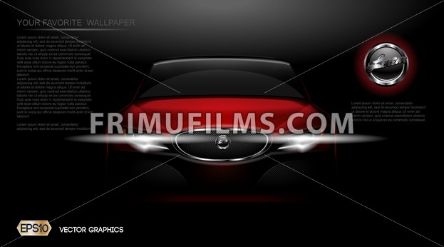 Digital vector red modern sport car mockup, ready for print or magazine design. Your brand, white lights on. Black background. Transparent, realistic 3d, reflection - frimufilms.com