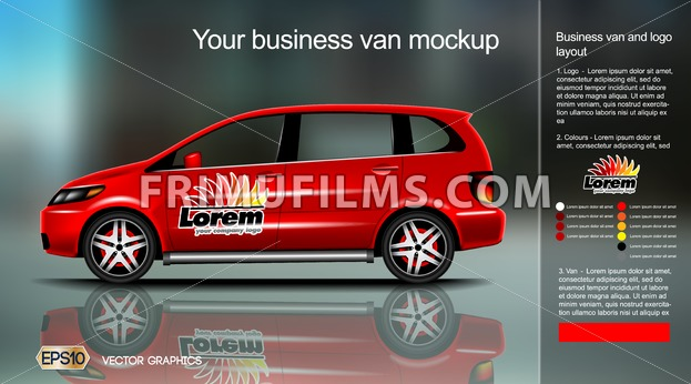 Digital vector red new modern business vehicle van close up mockup, ready for print or magazine design. Your brand, motor show and exhibition. Black background, reflection. Transparent, realistic 3d - frimufilms.com