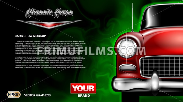 Digital vector red old classic car close up mockup, ready for print or magazine design. Your brand, auto show and exhibition, lights on. Black background, green fog. Transparent, realistic 3d - frimufilms.com