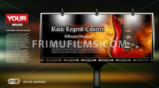 Digital vector rock legend concert close up mockup lightbox advert at night, ready for print or magazine design. Your brand, show and festival. Dark background, red electric guitar. Realistic 3d - frimufilms.com