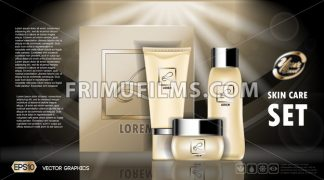 Digital vector yellow skin care cream and lotion cosmetic container set mockup collection, your brand package, ready for print ads or magazine design. Transparent and shine, realistic 3d style - frimufilms.com