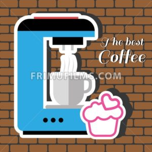 A blue coffee maker machine with a cup of coffee, a pink cake with heart and best coffee inscription, in outlines, over a brown background with bricks, digital vector image - frimufilms.com