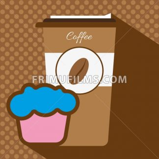 A brown coffee cup with a bean logo, a pink and blue cake, in outlines, over a brown background with dots, digital vector image - frimufilms.com