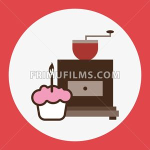 A brown coffee mill, with a pink cake with burning candle, in outlines, over a red round background, digital vector image - frimufilms.com