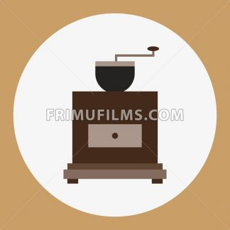 A brown old coffee mill, in outlines, over a brown background with dots, digital vector image - frimufilms.com