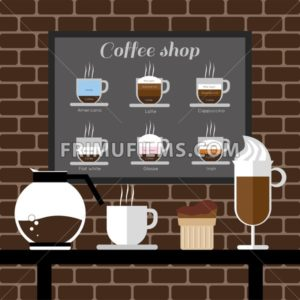 A coffee mill, a glass, a cake and a jar on a table, with coffee shop inscription, in outlines, over a brown background with bricks, digital vector image - frimufilms.com
