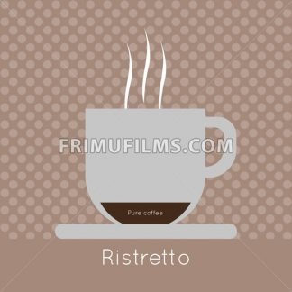 A cup of coffee with steam, pure coffee and ristretto inscriptions, in outlines, over a brown background with dots, digital vector image - frimufilms.com