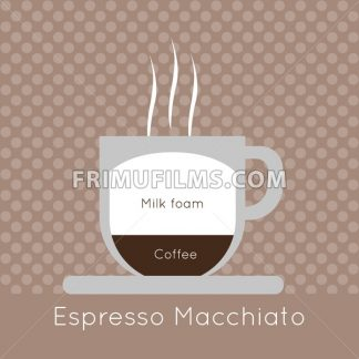 A cup of coffee with steam, with milk foam and espresso macchiato inscriptions, in outlines, over a brown background with dots, digital vector image - frimufilms.com
