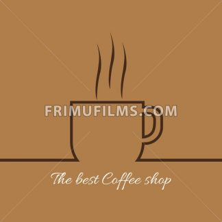 A cup of coffee with steam with the best coffee shop inscription, in outlines, over a brown background, digital vector image - frimufilms.com