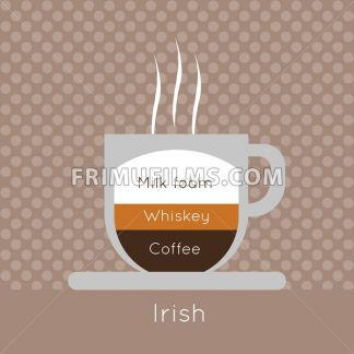 A cup of coffee with steam, with whiskey and irish inscriptions, in outlines, over a brown background with dots, digital vector image - frimufilms.com