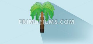 A green palm tree with brown stem and shadow over white blue background, flat style. Digital image vector - frimufilms.com