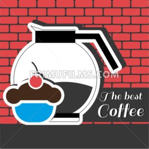 A jar of coffee with a blue cake with red cherry on top and best coffee inscription, in outlines, over a red background with bricks, digital vector image - frimufilms.com
