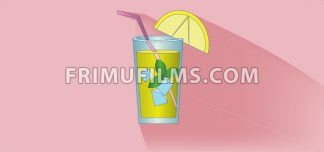 A lemonade cocktail glass with straw, mint and lemon slice design over pink background, flat style. Digital image vector - frimufilms.com