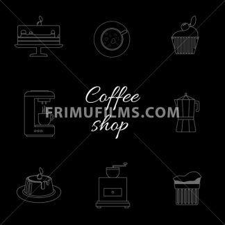 A monochrome set of coffee items, cup of coffee with steam, cake, glass, jug, jar, with coffee shop inscription, in outlines, over a black background, digital vector image - frimufilms.com