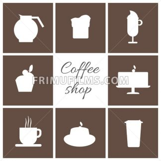 A monochrome set of coffee items, cup of coffee with steam, cake, glass, jug, jar, with coffee shop inscription, in outlines, over a brown background, digital vector image - frimufilms.com