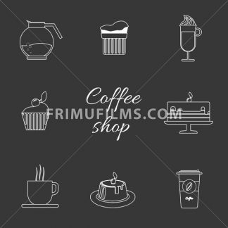 A monochrome set of coffee items, cup of coffee with steam, cake, glass, jug, jar, with coffee shop inscription, in outlines, over a silver background, digital vector image - frimufilms.com