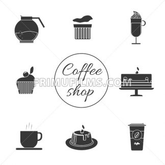 A monochrome set of coffee items, cup of coffee with steam, cake, glass, jug, jar, with coffee shop inscription, in outlines, over a white background, digital vector image - frimufilms.com