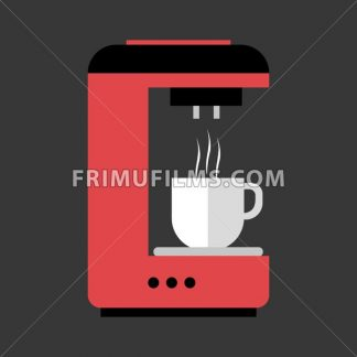 A red and black coffee machine pouring hot coffee in a white cup, in outlines, over a silver background, digital vector image - frimufilms.com