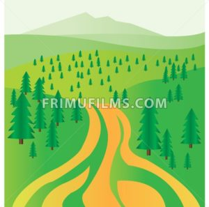 A road and green fir trees. Digital background vector illustration. - frimufilms.com