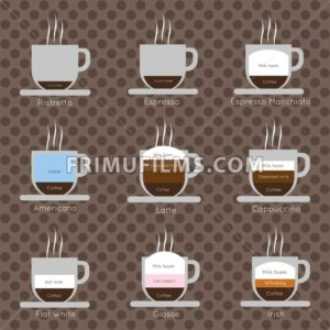 A set of coffee cups with steam, with ristretto, espresso, macchiato, cappucinno, flat white, glasse and irish inscriptions, in outlines, over a brown background with dots, digital vector image - frimufilms.com