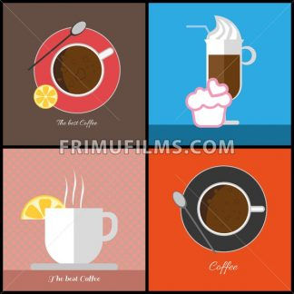 A set of coffee items, cup of coffee with bubbles,  glass with ice cream, cup with steam and a slice of lemon, in outlines, digital vector image - frimufilms.com