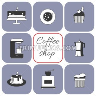 A set of coffee items, cup of coffee with steam, cake, glass, jug, jar, with coffee shop inscription, in outlines, over a white background, digital vector image - frimufilms.com