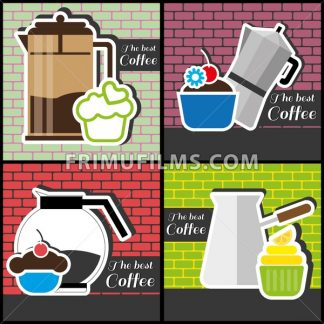 A set of coffee items, jars of coffee and cakes, in outlines, over colored backgrounds with bricks, digital vector image - frimufilms.com