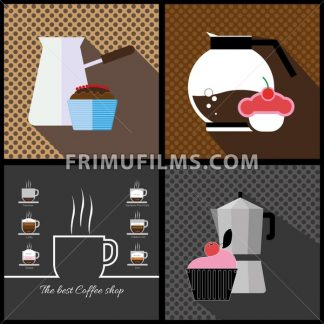 A set of coffee items, jars of coffee and cakes with the best coffee shops inscription, in outlines, over colored backgrounds with bricks, digital vector image - frimufilms.com