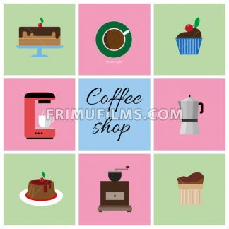 A set of colored coffee items, cup of coffee with bubbles, cake, glass, jug, jar, with coffee shop inscription, in outlines, over a white background, digital vector image - frimufilms.com