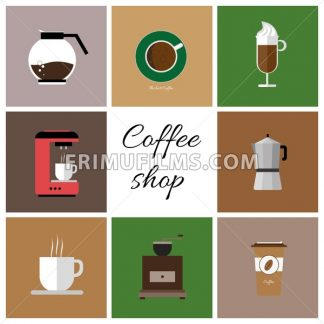 A set of colored coffee items, cup of coffee with steam, coffee machine, mill, glass, jug, jar, with coffee shop inscription, in outlines, over a white background, digital vector image - frimufilms.com