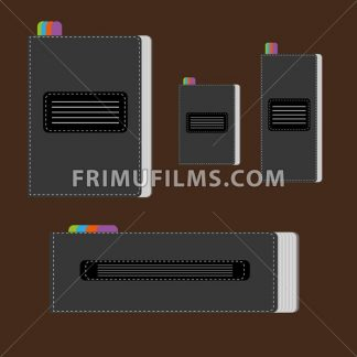A set of silver writing notebooks of different size with colored marks, over a brown background, digital vector image. - frimufilms.com