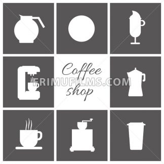 A set of white coffee items, cup of coffee with steam, coffee machine, mill, glass, jug, jar, with coffee shop inscription, in outlines, over a silver background, digital vector image - frimufilms.com