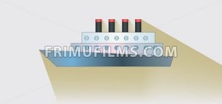 A ship with four towers over white background, flat style. Digital image vector - frimufilms.com