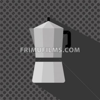 A silver coffee maker with a handle and shadow, in outlines, over a silver background with dots, digital vector image - frimufilms.com